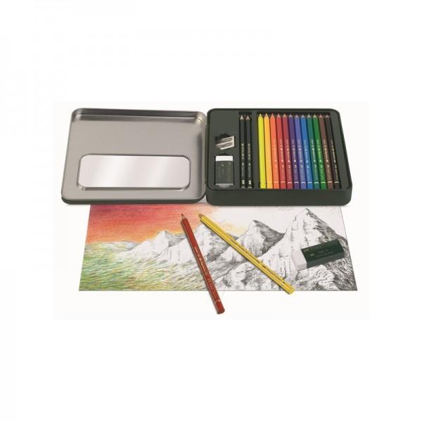 Цветни моливи 12 цв. Polychromos Mixed Media + аксесоари - Faber Castell